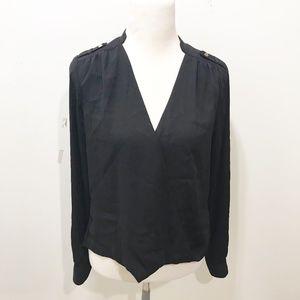 White House Black Market Size 8 Black Wrap Blouse